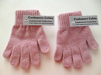 Girls pink lambswool gloves  2 PAIRS  age 5 6 7 8 years NEW made in Scotland