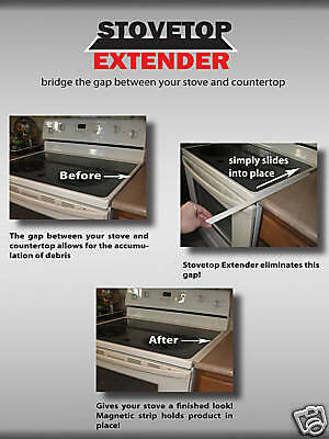 Stovetop Extender~(Two In A Pak)~Black~~Fits Between Stove & Counter