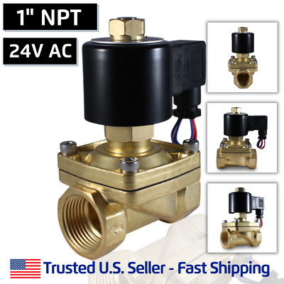 "1"" 24V AC NORMALLY OPEN Electric Brass Solenoid Valve Gas Water 24 Volts VAC"