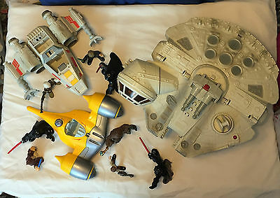 Star Wars Galactic Heroes Millennium Falcon Naboo X Wing Fighter & 6 Figure Lot