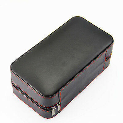 Black Leather Cedar Wood Lined Portable Cigar Travel Case Humidor 6 Count