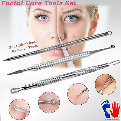 X3 Blackhead Remover Acne Pore Pimple Comedone Extractor Double End Facial Tools