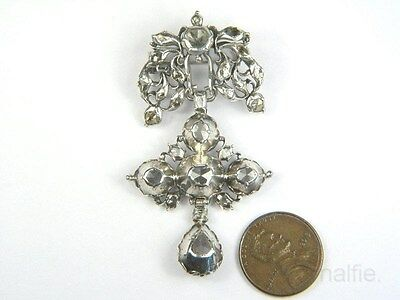 BEAUTIFUL ANTIQUE SILVER ROSE CUT DIAMOND STYLISED CROSS BROOCH c1780