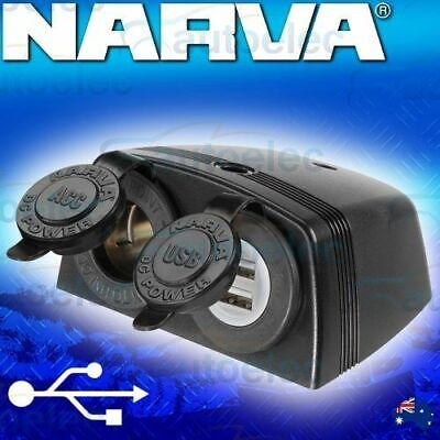 Narva Dual Usb & Cigarette Lighter Socket 12V Adapter New Caravan 81168Bl