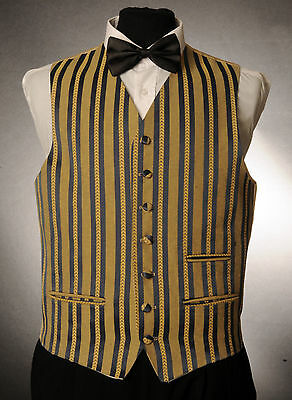 W - 1037.mens/boys Royal Blue & Gold Striped Waistcoat / Dress/ Suit / Formal