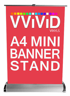 "A4 Mini Table Advertising Banner Stand 8.3"" Wide 12"" Tall Roll signage display"