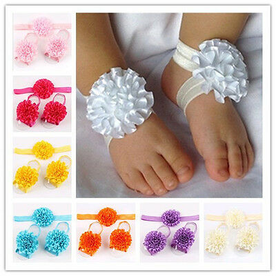 1set/3Pcs New Baby Infant Headband Foot Flower Elastic Hair Band Accessories