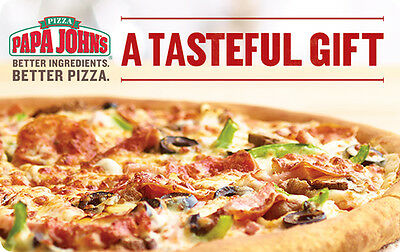 $10 / $25 / $50 Papa John's Pizza Physical Gift Card - 1st Class Mail Delivery