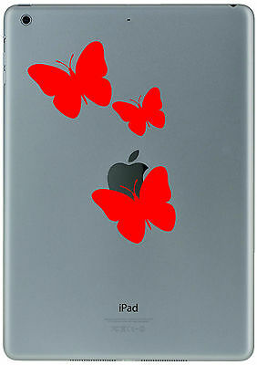 348 Ipad Mini Air  3 Red Butterflys Sticker Decal Tablet Customize  your iPad