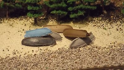 N-Scale 6 Unfinished Small Skiffs 1:160 Model Train Detail Accessories