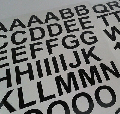 10 x sticky vinyl  letters & numbers 25mm upto 100mm choice of 5 Fonts & colours