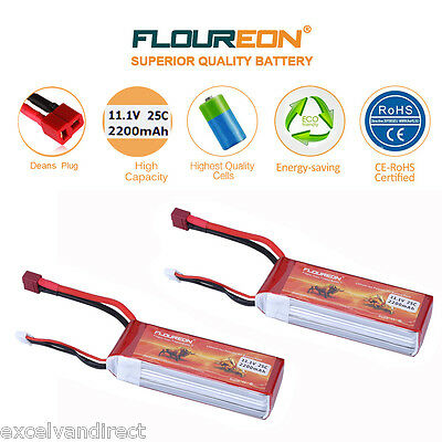 2x FLOUREON 3S 25C 11.1V 2200mAh LiPo Battery Deans for RC Car Helicopter Truck