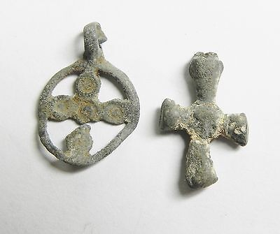 ZURQIEH - tu22- ANCIENT EGYPT , 2 LEAD ITEMS WITH CROSS, BYZANTINE 600-800 A.D