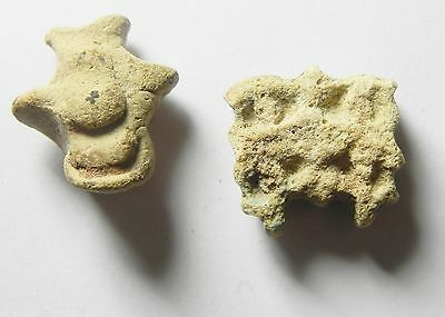 ZURQIEH - sc824-  ANCIENT EGYPT , LOT OF TWO FAIENCE AMULETS , 600 B.C