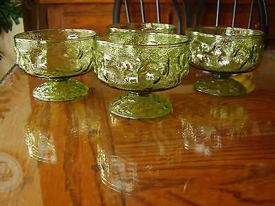 Anchor Hocking Milano Green Tall Sherbet Champagne Glasses - Set of 4