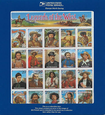Scott # 2870 Recalled LEGENDS OF THE WEST Error Sheet in Original USPS Holder
