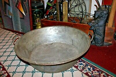 Vintage Steel Metal Circular Basin-Machine Shop Garage Large Slop Bucket Planter