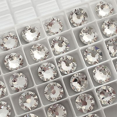 SWAROVSKI CRYSTALS 100 x SS12 CLEAR flatback diamantes rhinestones GLUE ON #2088