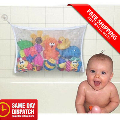 Baby Child Kid Bath Toy Bag Net Storage Bathroom Suction Organizer Tidy White