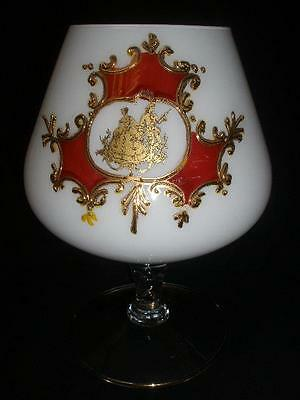 Retro Large Ornamental Brandy Balloon White Glass Decorated
