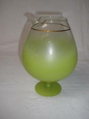 Retro Large Ornamental Brandy Balloon Jug Green Glass Gold Trim