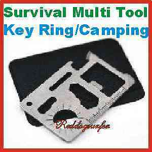 8 x Multi 11 in 1 Survival Knife Credit Card Key Chain Ring Tool Wrench Tools