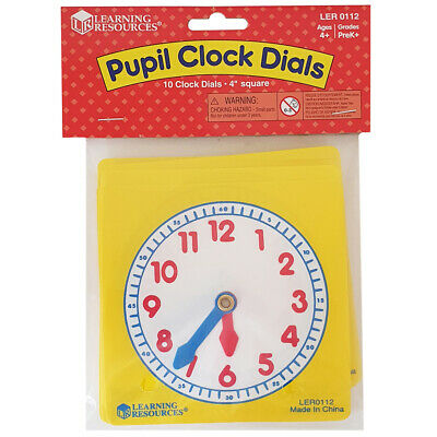 Learning Resources Pupil Clock Dials (Set of 10) NEW