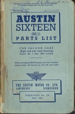 Austin Sixteen 16 original Illustrated Parts List 1947 Pub No 276