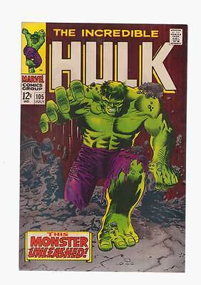 Incredible Hulk # 105  This Monster Unleashed !  grade 8.5 scarce book !