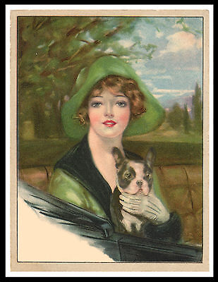 Boston Terrier Pretty Lady And Dog Lovely Vintage Style Dog Print Poster