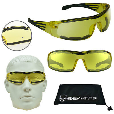 YELLOW Motorcycle Glasses HD Night Vision Safety Foam Padded Cycling Sunglasses