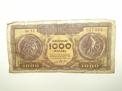 1950 Greece 1000 Drachma Subsidiary Curreny Banknote