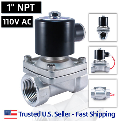 "1"" SS 110 Volts AC STAINLESS STEEL Electric Solenoid Valve Water Gas Air 120 VAC"