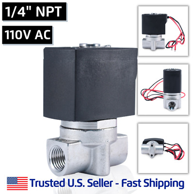 "1/4"" SS 110V AC Stainless Steel Electric Solenoid Valve Water Gas 110 120 Volt"