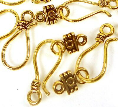 20pcs /10 sets Gold Pewter Hook Clasps 24mm ~ Lead-Free