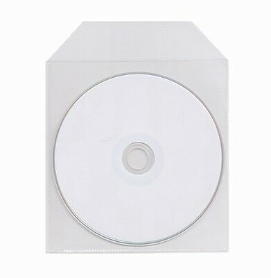 1000 THIN CD DVD Clear CPP Plastic Sleeve Bags with Flap 60 Microns