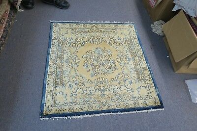 Vintage Semi Antique Persian Kerman Rug 3'x3' Hand Knotted Wool