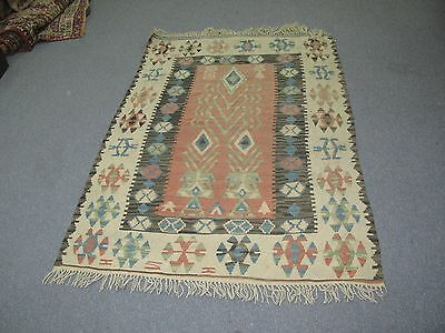 "Antique Vintage Hand Made Turkish Hand Woven Wool on Wool Rug Kilim 40"" x 60"""