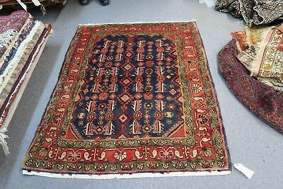 Vintage , Semi Antique Persian Malayer Kurdish Hand Knotted Wool Rug 3'10 x 4'10