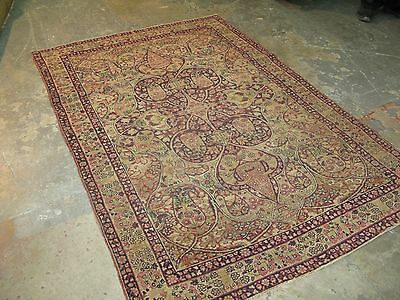 Antique Persian Lavar Kerman Wool Oriental area Rug Hand Knotted 4'-6 x 6'-8