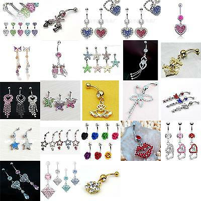 Belly Bars Crystal Dangly Reverse Drop Body Piercing Belly Button Ring Navel Bar