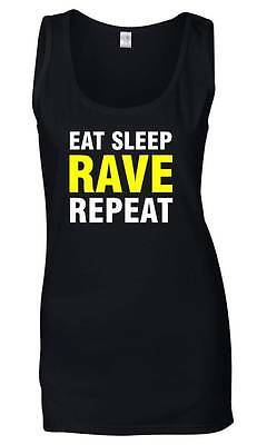 EAT SLEEP RAVE REPEAT Ladies Vest 6-18 Party Fancy Dress T-Shirt Neon Yellow Top