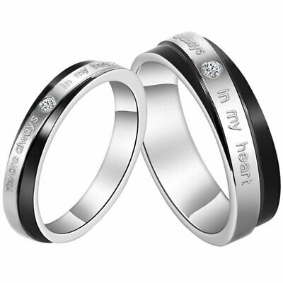 """ You Are Always In My Heart "" Couples Stainless Steel Promise Ring Wedding Band"