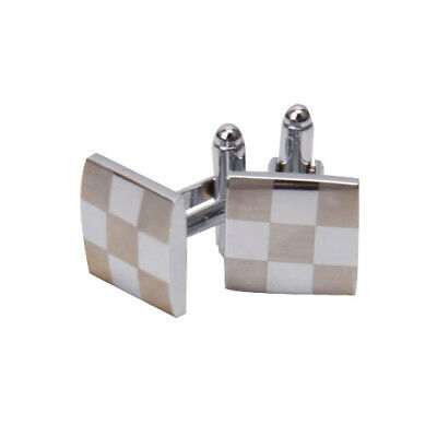 Mens Stainless Steel Business Shirt Silver Square Lattice Wedding Cufflinks