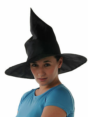 Witch Hat  Satin Plain Black Perfect for Halloween Child Small Adult