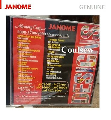 GENUINE JANOME DESIGNS CD for  MEMORY CRAFT EMBROIDERY MACHIINES IN JEF FORMAT