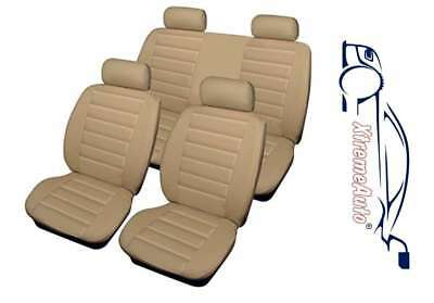 Bloomsbury Beige Leather Look 8 PCE Car Seat Covers For Audi A1 A2 A3 A4 A5 A6