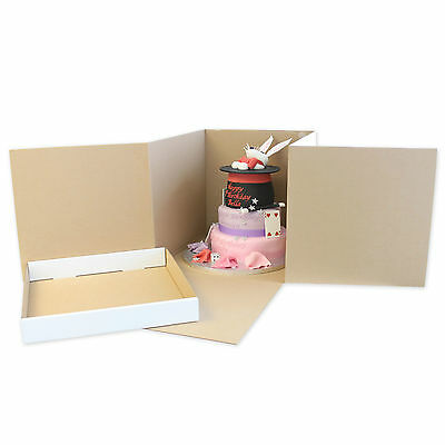 "Heavy Duty Corrugated Cube Cake Boxes - 12"", 14"" & 16""- For Tall / Stacked Cakes"