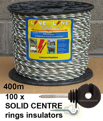 Green & White Electric Fence Rope 400m & 100 Ring Insulators - Horse Fencing