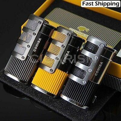 COHIBA Gridding Stripes 3 Torch Jet Flame Cigarette Cigar Lighter W/Punch